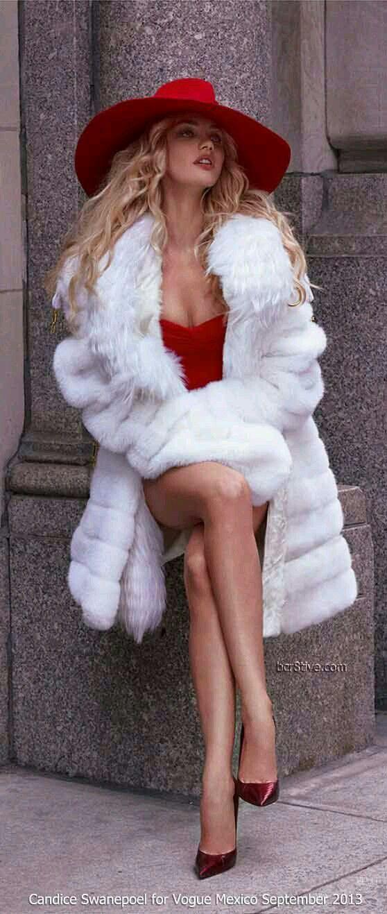 red fedora + white fur coat + red dress + wine stiletto