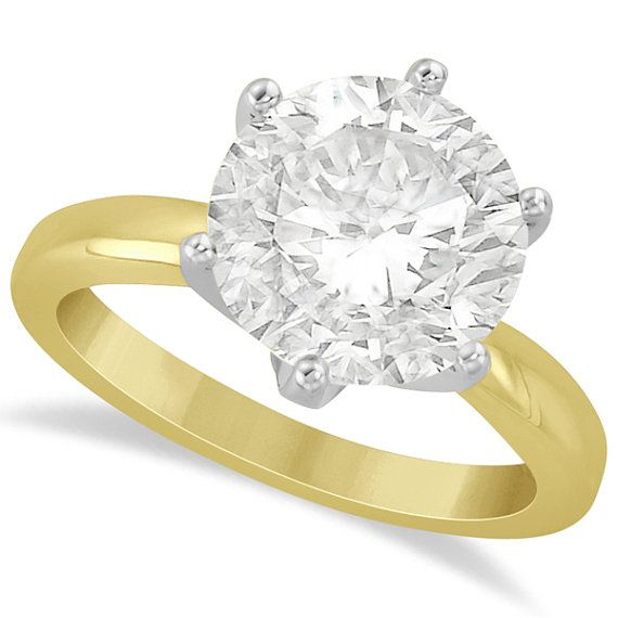 Round Solitaire Moissanite Engagement Ring 14K Yellow by Allurez