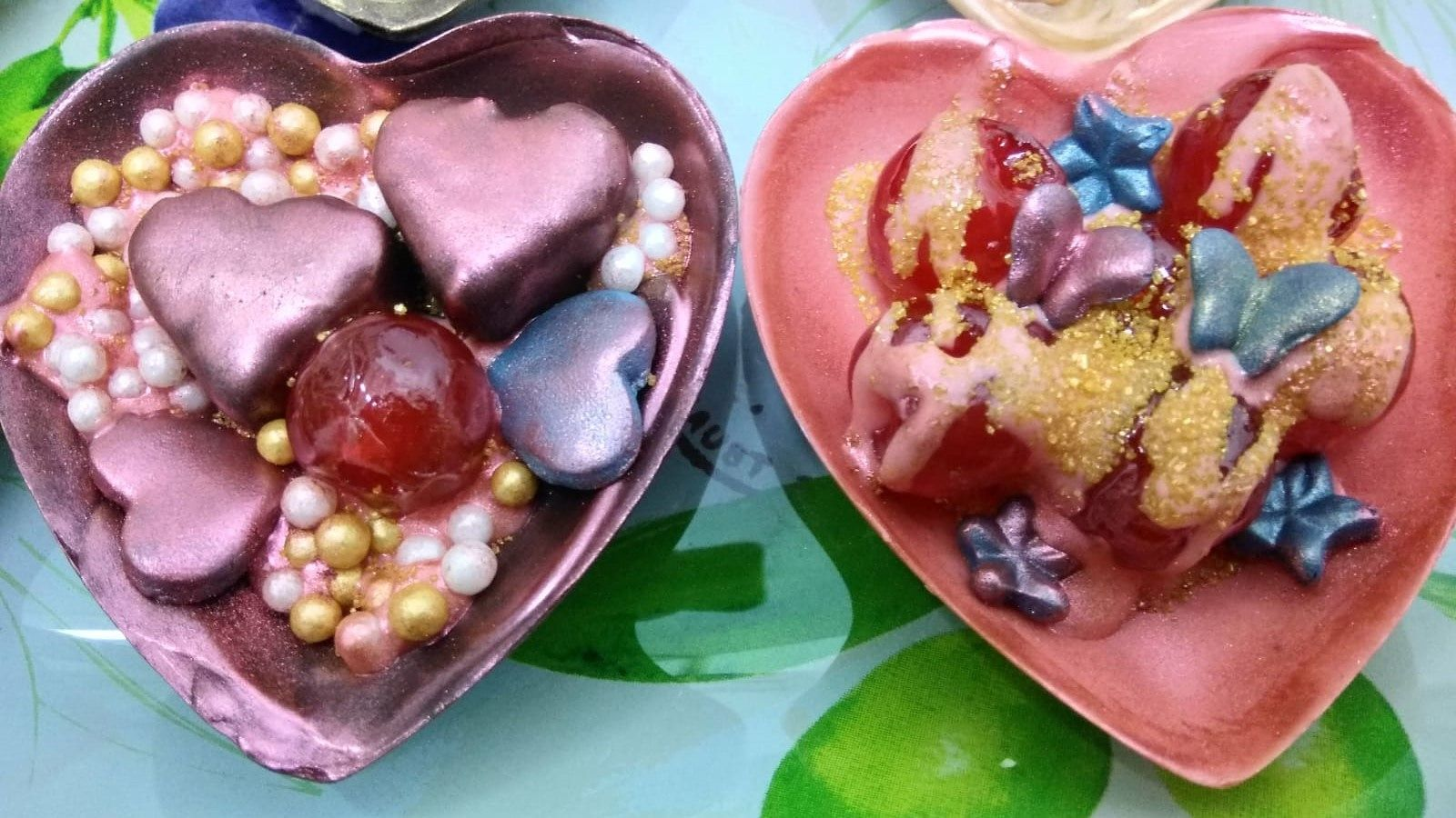 Photo of Hearts decorated and stuffed