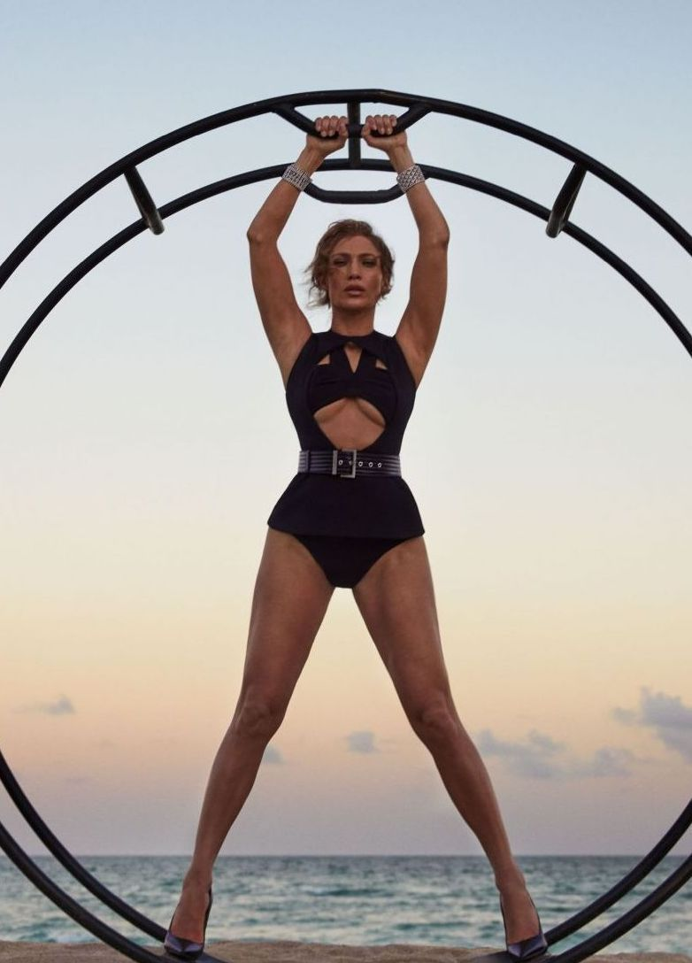ccd3637a0ac Jennifer Lopez poses in a Givenchy bodysuit and Jimmy Choo Pumps ...