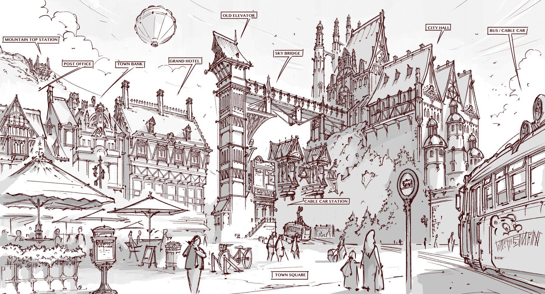 Town Design City Hall And Cable Car Station By Alantsuei Deviantart Com On Deviantart City Design Car Station Environment Concept Art