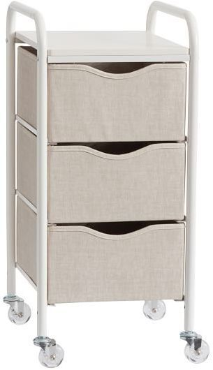 Pottery Barn Ready To Roll Storage Cart 3 Drawer Linen
