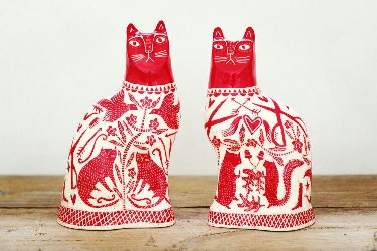 Www.vickylindi.co.uk sampler cats. The pigeon club pottery, bideford, devon.