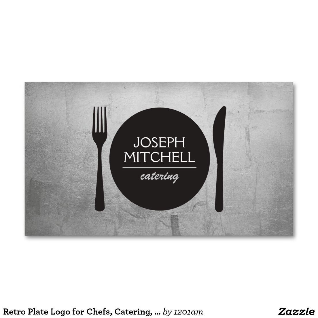 Retro Plate Logo For Chefs Catering Restaurants Business Card