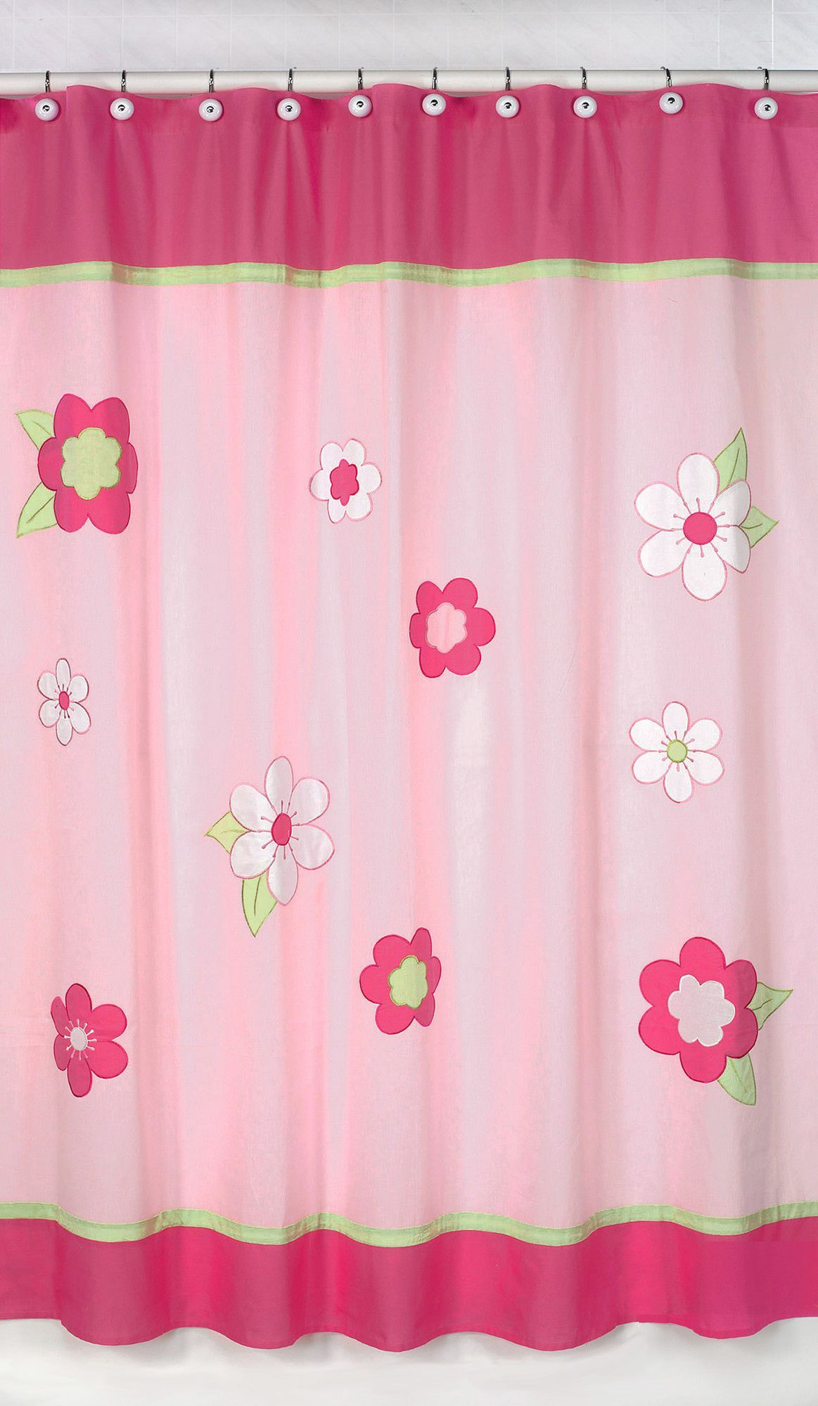 flower pink and green cotton shower curtain milana pinterest pink flower and cotton. Black Bedroom Furniture Sets. Home Design Ideas