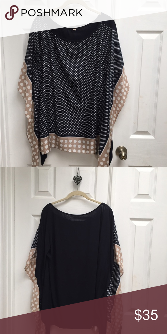 Silk top Navy silk top with tan and white dots and navy cotton back Tops Blouses
