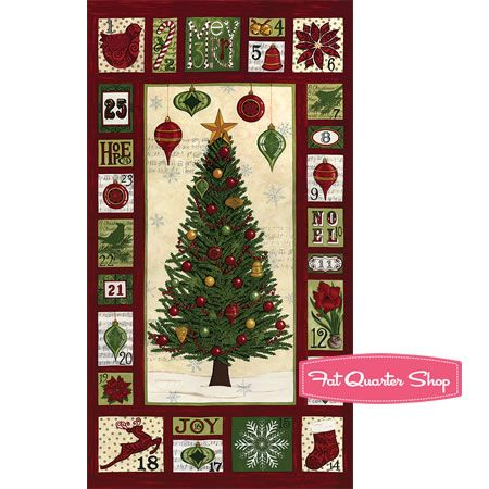 Christmas Countdown Berry Red Countdown Quilt Panel SKU# 19620-13 - Fat Quarter Shop