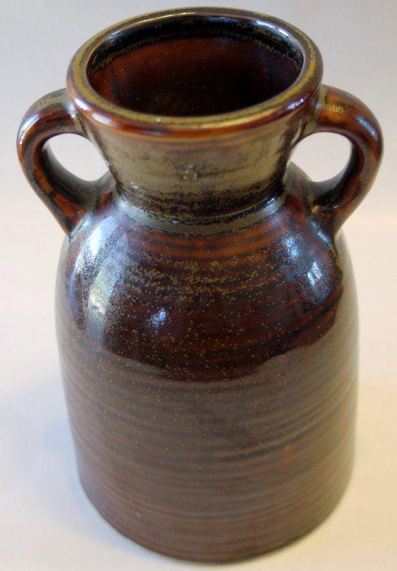 Vintage Hosley Pottery Vase 2 Handled Crock | Pottery vase ...