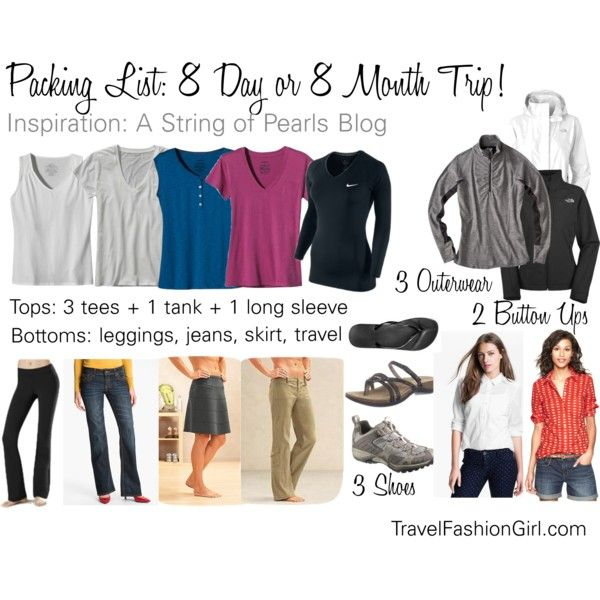 Packing List for 8 Day or 8 Month Trip! Travel pants, Packing