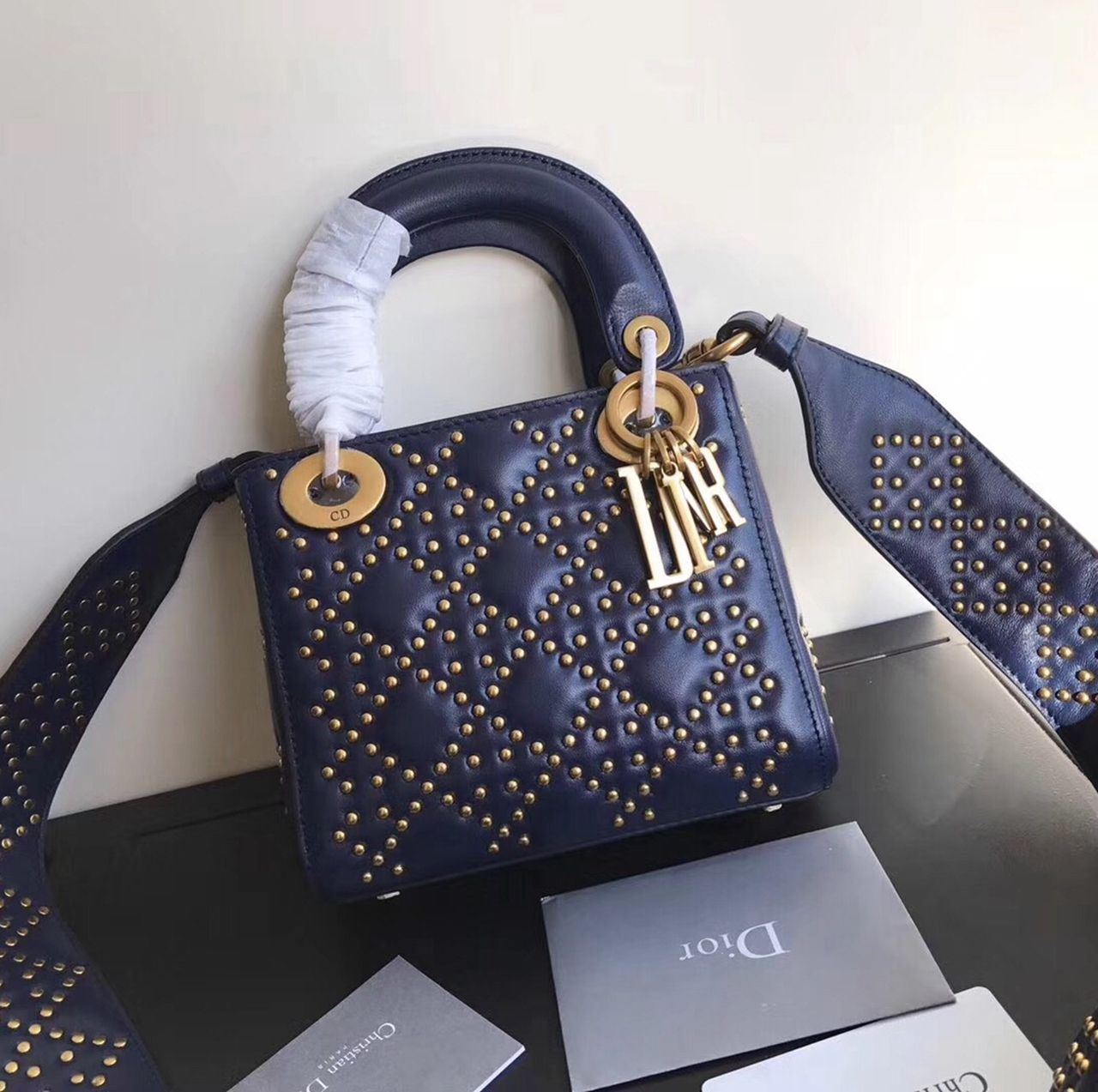 Dior Supple Lady Dior Mini Bag in Studded Lambskin Deep Blue 2017 ... be87d6d8dc22d