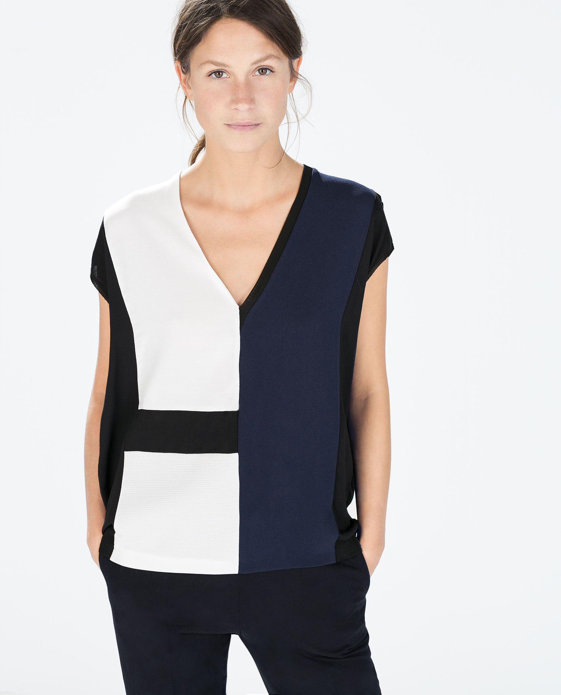Image 1 Of Color Block T Shirt From Zara In M