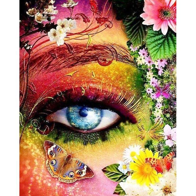 5d diy diamond painting floral rainbow blue eye