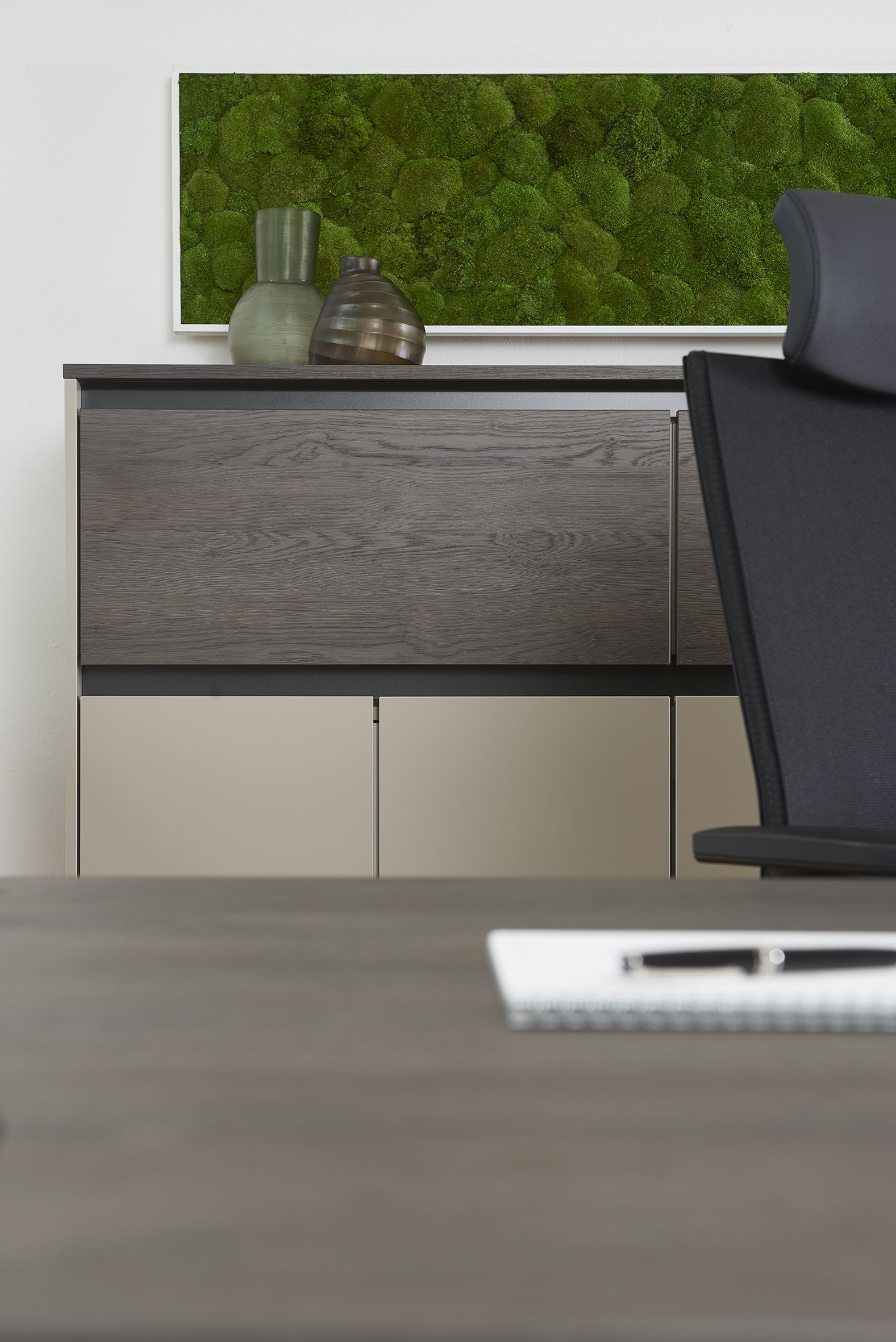 schrank purline von febr griffloses modernes design sorgt f r wohnliches ambiente im b ro. Black Bedroom Furniture Sets. Home Design Ideas