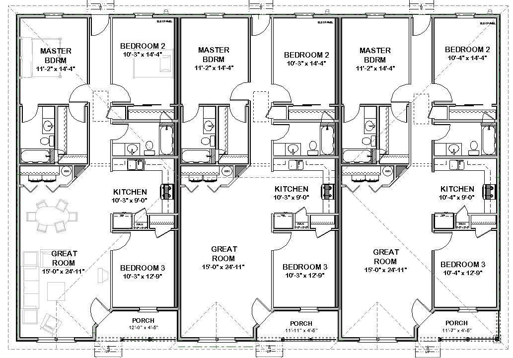 Triplex House Plans 1 387 S F Ea Unit 3 Beds 2 Ba Duplex