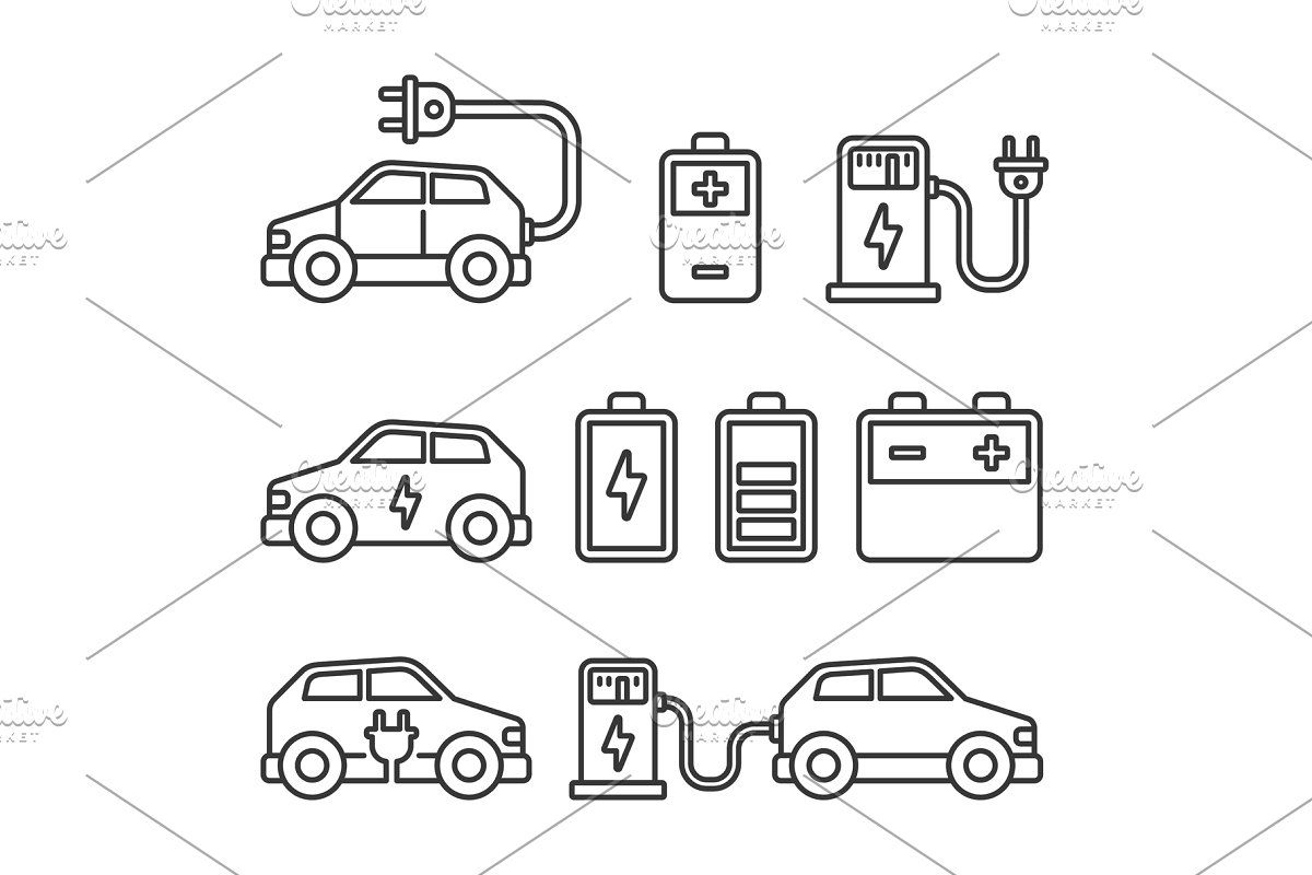 Electric Car Icons Set On White In