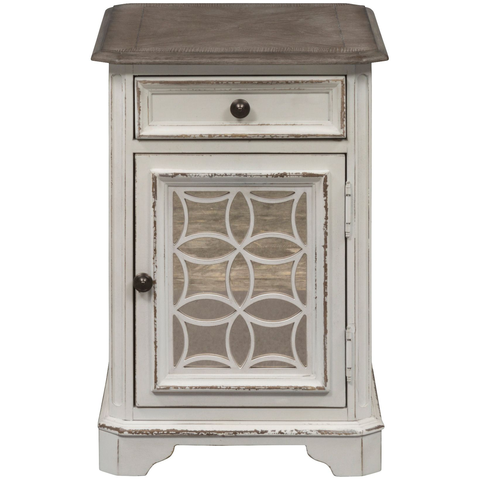 Magnolia Manor Antique White Chairside Table Chair Side