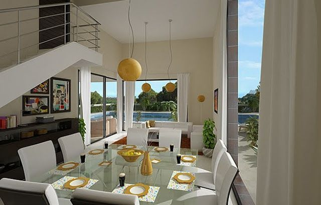 Casas 3d bella fachada de vivienda con vista panoramica for Casas con escaleras por dentro