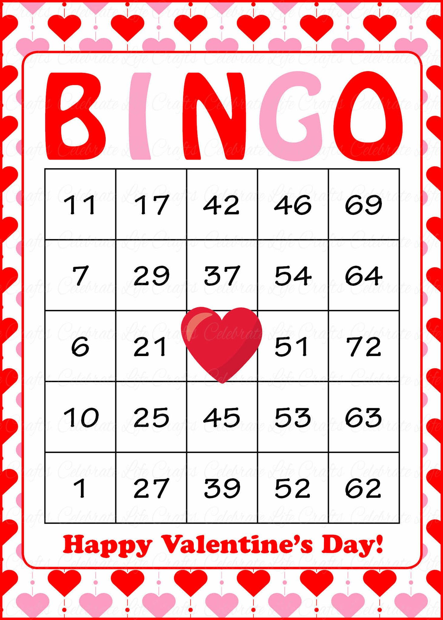 valentines bingo cards printable download prefilled valentines party games red pink hearts v1005 - Valentine Bingo Cards