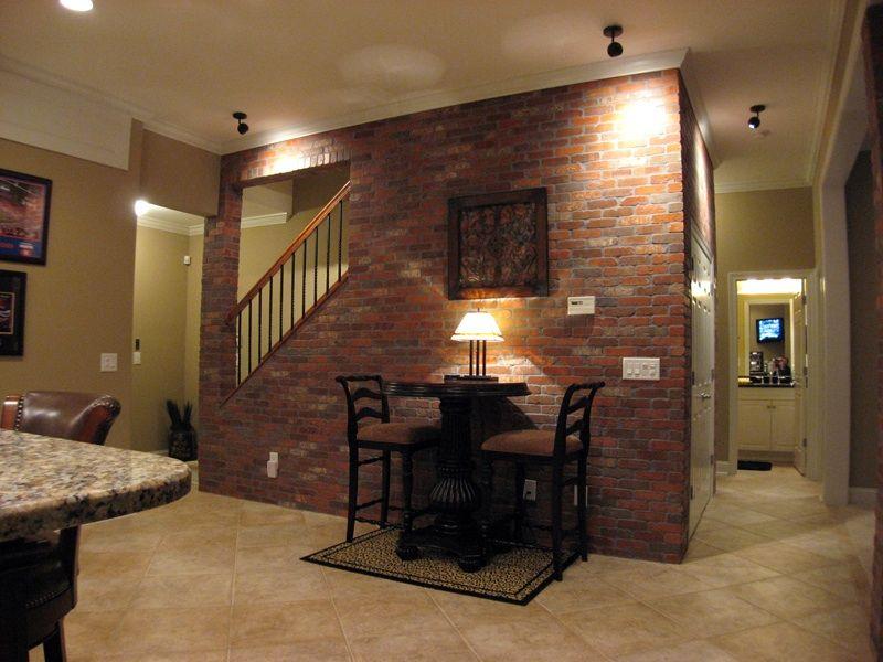 Lighting Basement Washroom Stairs: Opposite Wall In A Custom Basement Bar
