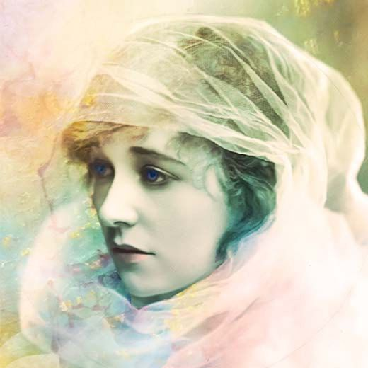 Giclee Archival Print, Photomontage, Collage, Painted Photographs, Woman Portrait, Portrait, Vintage Art. $30.00, via Etsy.