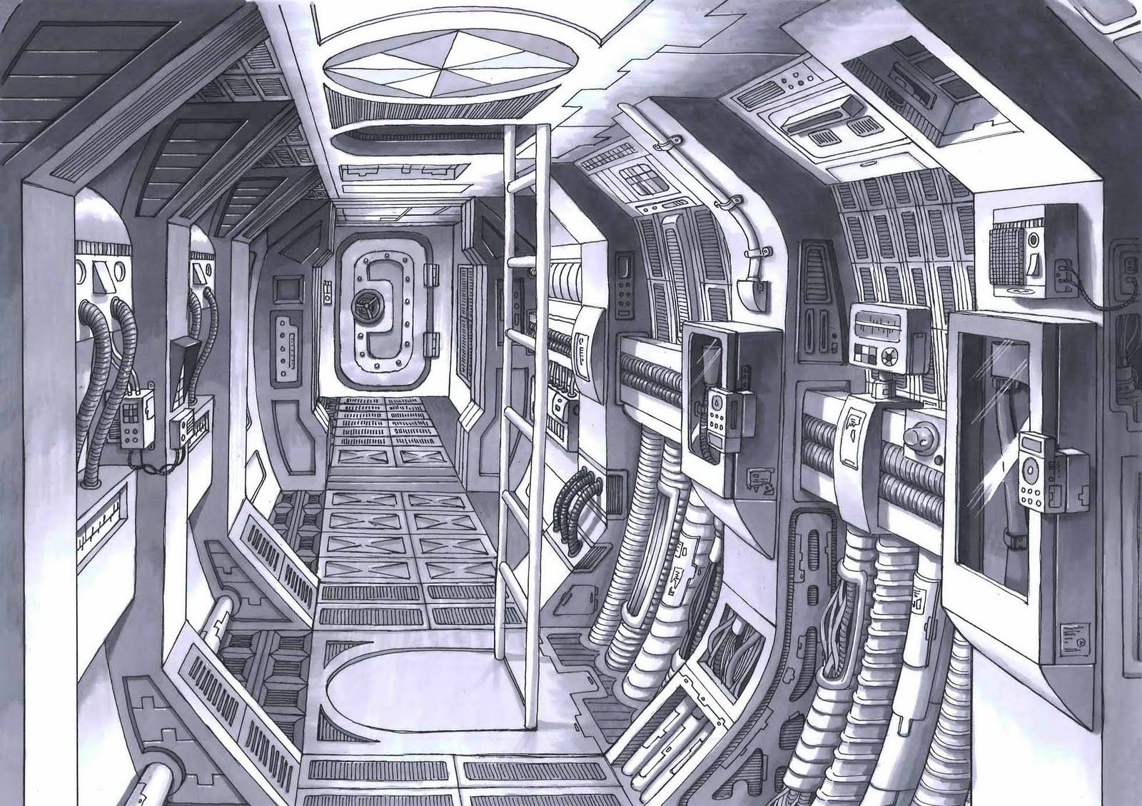 Modern Ship Design : Spaceship interior concept art space ship design