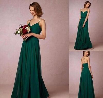 59a86230f756 Dark Green A Line Chiffon Boho Bridesmaid Dresses 2018 Sexy Straps  Spaghetti Backless Floor Length Junior Bridesmaid Dress