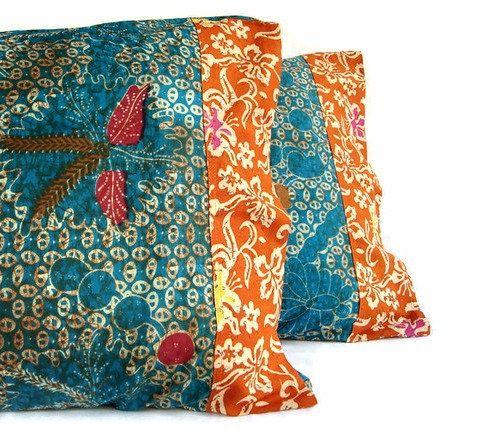 Cot In A Box Morocco Turquoise: Indonesian Batik Pillow, Turquoise, Orange, Pillowcase
