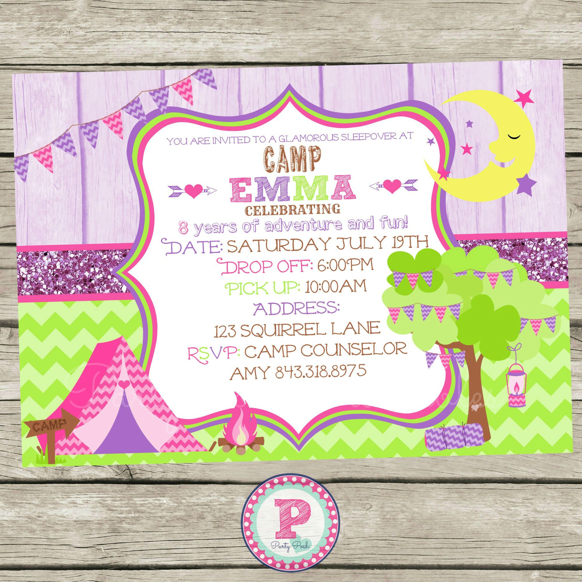 Glam Camping Camp Party Invitation for a Birthday Party Camp out or ...