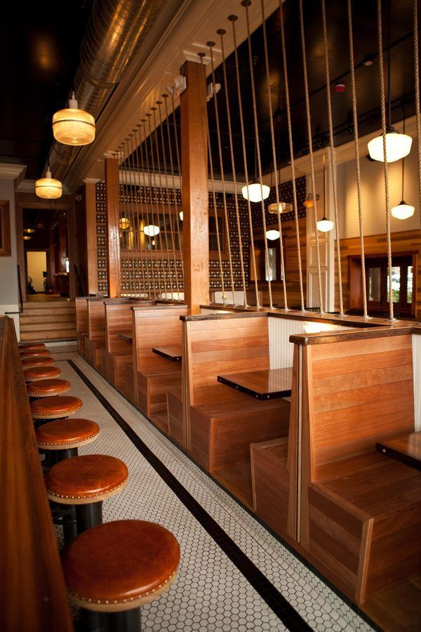 wooden back to back booth seating … Restaurant booth