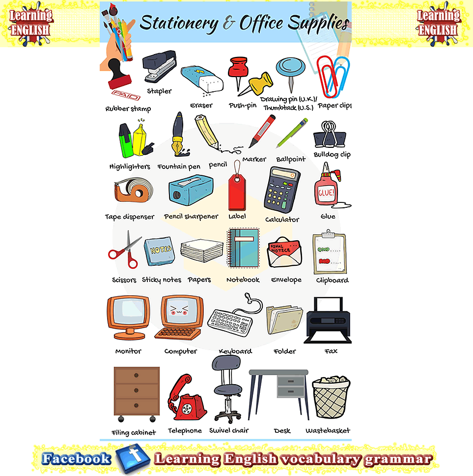 Office supplies and stationary vocabulary | Aaaa | Vocabulary pdf