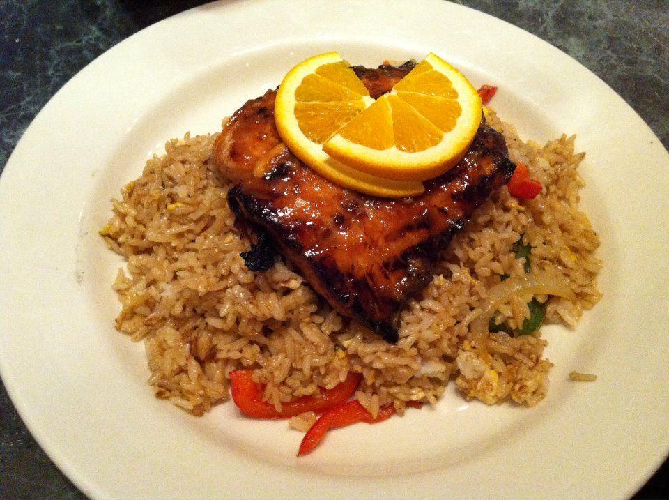 miso orange glazed salmon over fried rice