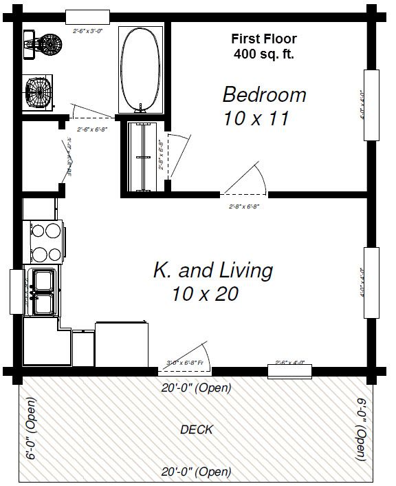 Maverick Plan 400 Sq Ft One Bedroom House Small House Floor Plans Cabin Floor Plans