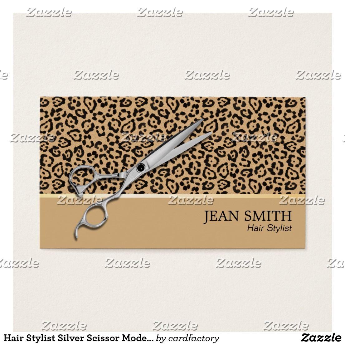 Hair Stylist Silver Scissor Modern Leopard Print Business Card Hair ...