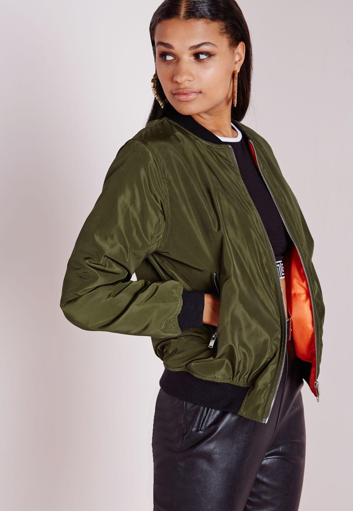 Missguided - Padded Bomber Jacket Khaki | Fallin' | Pinterest ...