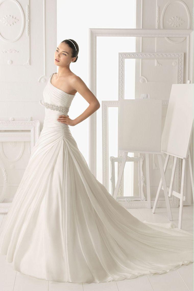 2014 One Shoulder Pleated Bodice A Line Wedding Dress With Ruffled Organza Skirt Beaded USD 199.99 STPSHRTGH7 - StylishPromDress.com