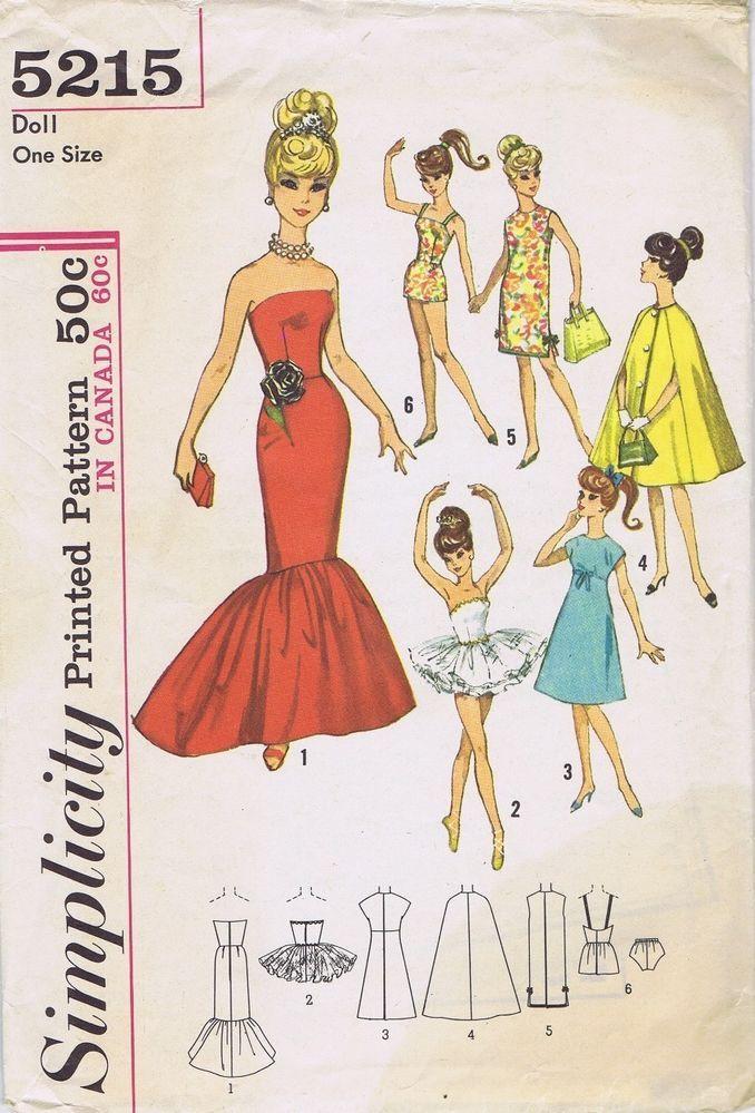 VINTAGE Fashion Doll SEWING PATTERN BARBIE Sized Dolls 11.5 ...