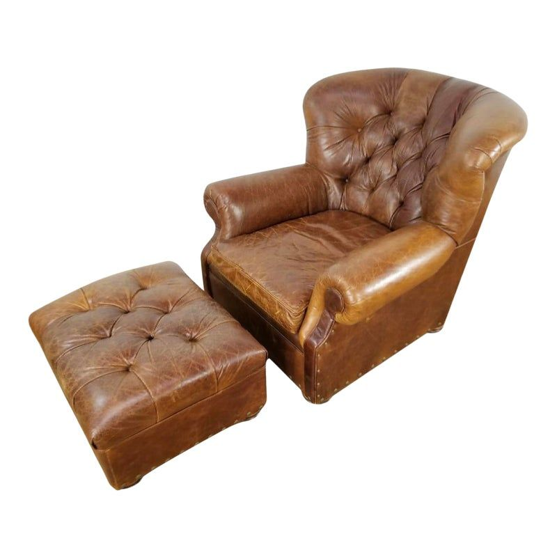 Restoration Hardware Churchill Chair And Ottoman Vintage Leather Chairs Chair And Ottoman Leather Chair With Ottoman Brown leather chair with ottoman