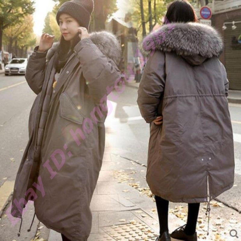 727015f9 Womens Warm Fur Hooded Parka Korea Mid Length Outwear Coats Winter Puffer  Jacket