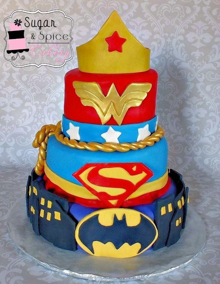 Super Hero Cake Wonderwomansupergirlbatgirl Birthday Ideas For