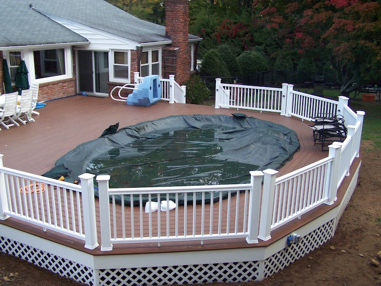 Awesome above ground pool decks nj with flat vinyl fence for Above ground pool decks nj