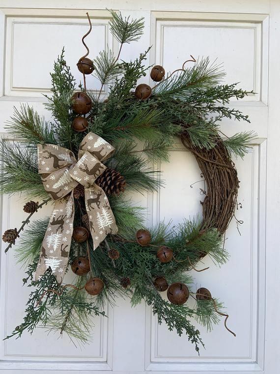 Photo of Christmas Wreath, Rustic Christmas Wreath, Rustic Bells, Christmas Greens, Burla…