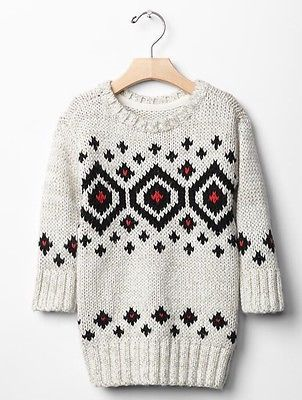 GAP Baby / Toddler Girl 18-24 Months NWT Gray / Ivory Fair Isle ...