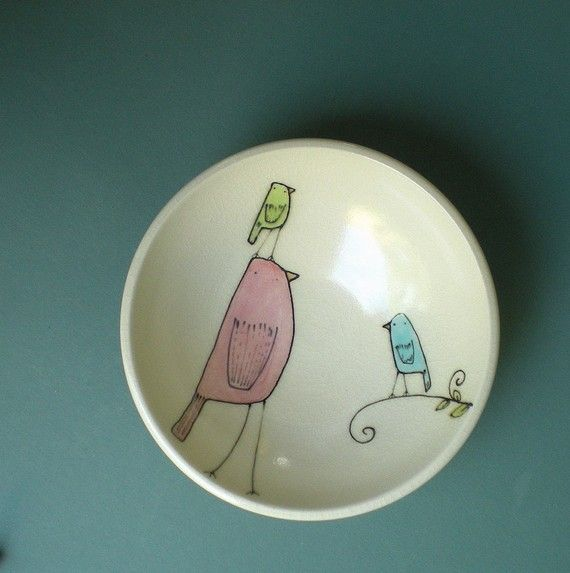 Sweet little bird ice cream bowl.