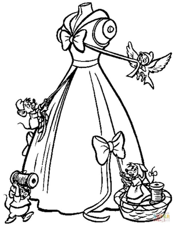 The Mice Help Cinderella To Make Her Gown Coloring Page Free