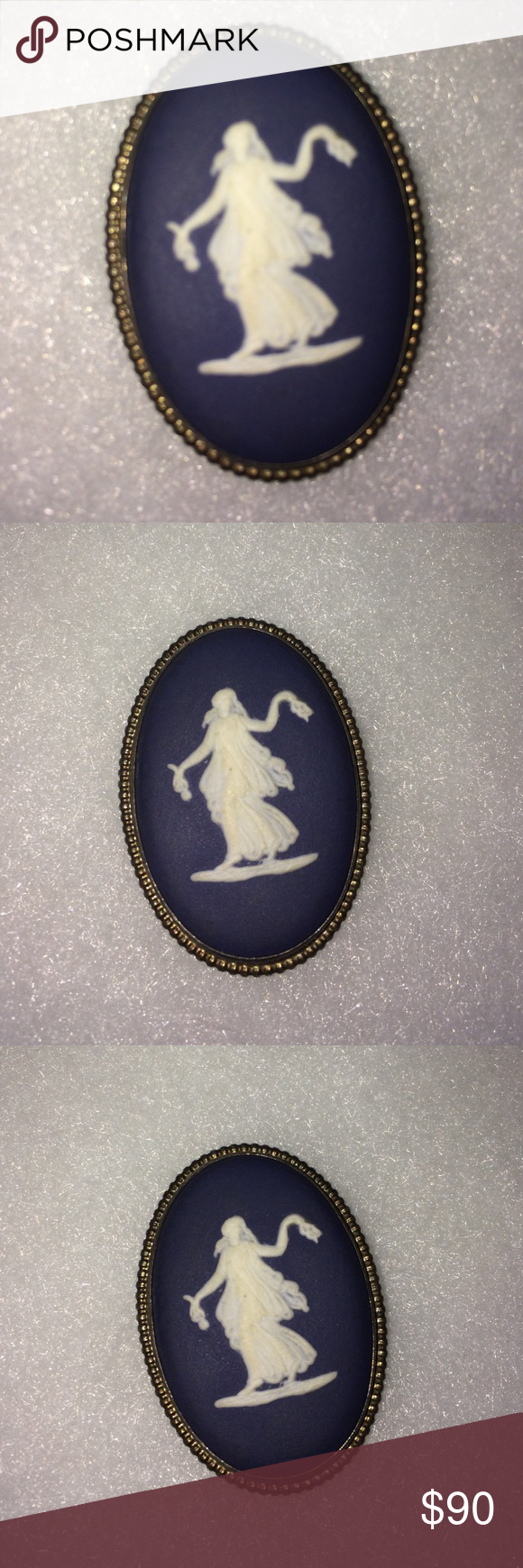 "Wedgwood Brooch This is antique. Wedgwood brooch pin blue cream white portrait of Greek Goddess floral girl classic Wedgwood blue background. Measure 1.25"" wide 1.5 tall Signed Wedgwood made in English C73  absolutely gorgeous wedgwood Jewelry Brooches"