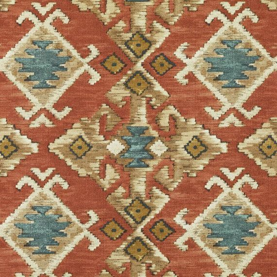 Red And Teal Ikat Upholstery Fabric