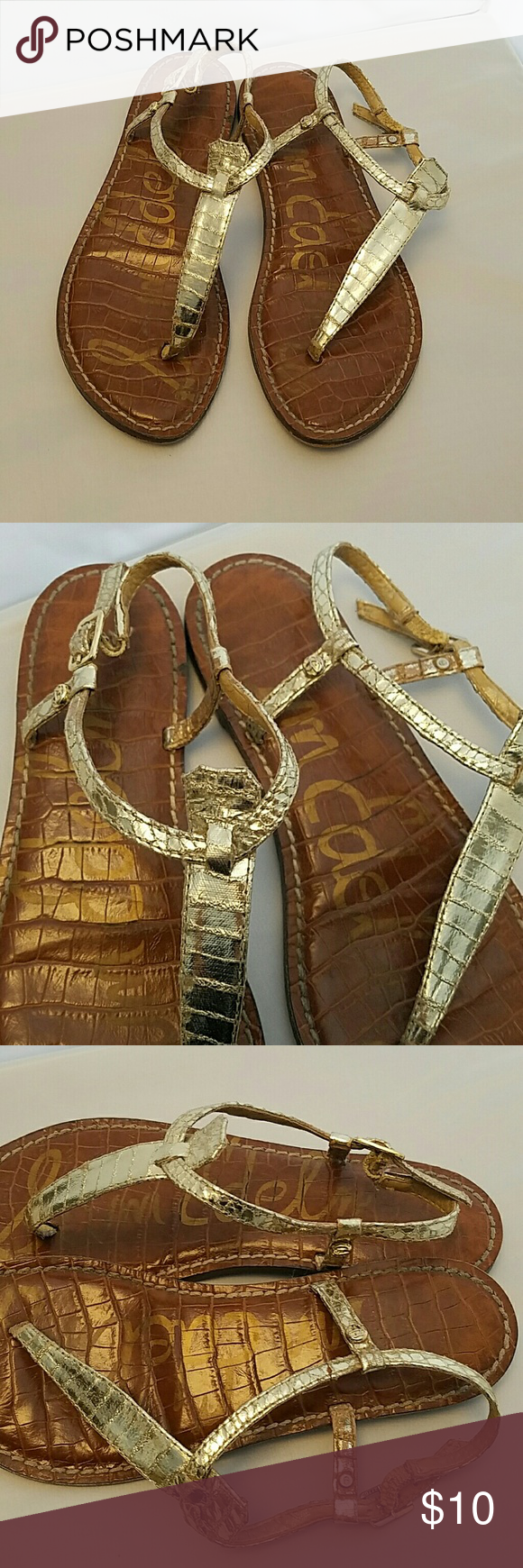 Sam Edelman Gigi Sandals Gold. Well loved but lots of life left.  Thanks and don't forget to check out my other listings! Sam Edelman Shoes Sandals