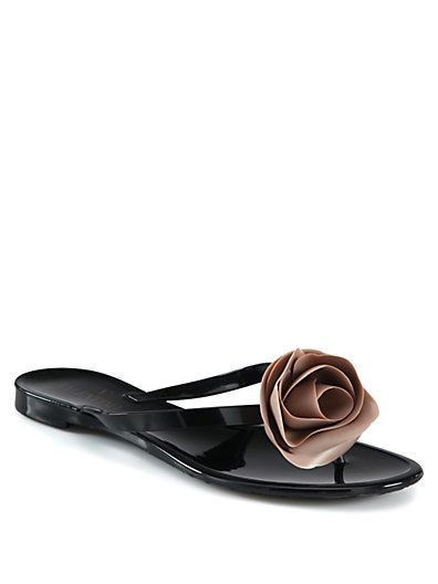 Valentino - Rose-Detail Thong Sandals