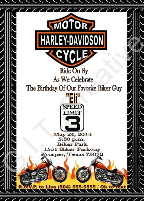 HARLEY DAVIDSON BIRTHDAY PARTY INVITATIONS – Motorcycle Party Invitations