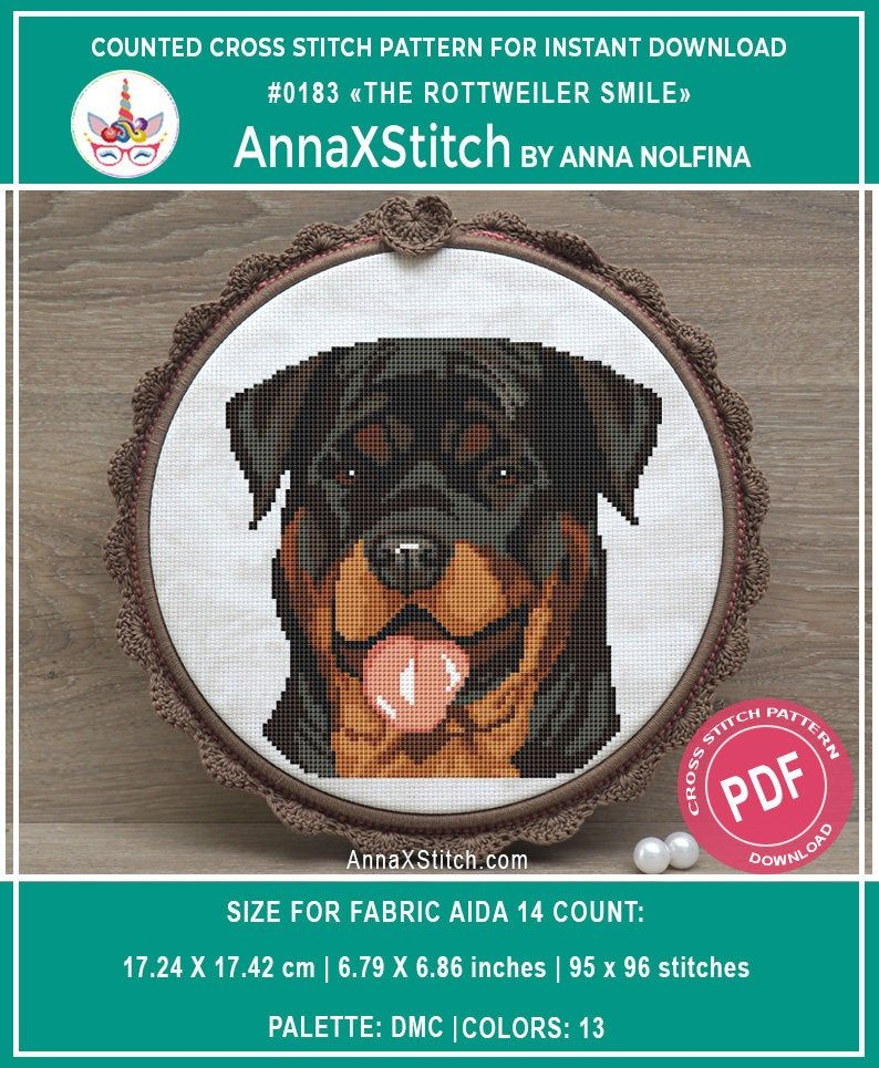 Rottweiler Smile Dog Face Cross Stitch Pattern Pdf By